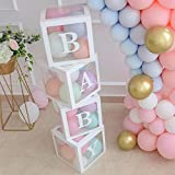 ALITREND 4PCS Baby Boxen Party Dekoration for Baby Shower, Transparente Luftballon Boxen Baby Block...