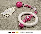 Baby Kinderwagen Anhänger mit NAMEN - Kinderwagenkette mit Wunschnamen - Mädchen Motiv Hello Kitty in pink, rosa