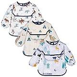 Yoofoss Baby Lätzchen mit Lange Ärmeln 3er Wasserdicht Ärmellätzchen Set für Junge Mädchen...
