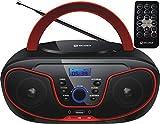Tragbarer CD-Player | Boombox | CD/CD-R | USB | FM Radio | AUX-In | Kopfhöreranschluss | CD Player | Kinder Radio | CD-Radio | Stereoanlage | Kompaktanlage… (Cherry Red)
