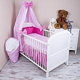 Amilian® Baby Bettwäsche 5tlg Bettset mit Nestchen Kinderbettwäsche Himmel 100x135cm NEU Herzen Rosa Vollstoffhimmel