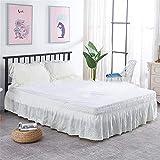 CQZM Weiß Hohl Bettvolant Baby Mit Rüschen Elastische Bed Skirt Single Double Queen Bettrock Tagesdecke Schlafzimmer Wrap Around Style Bett Röcke Ohne BettoberflächeB-100x200cm(39x79inch)