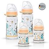 NIP Weithalsglasflasche Glas Flaschen Set Girl // 4er Set // Glas-Babyflasche // 120 ml & 240 ml // mit Weithalstrinksauger anatomisch, Silikon, Gr. 0+, Milch