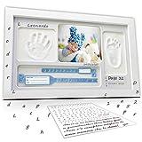 LALFOF Bilderrahmen 7IN1 mit baby handabdruck und fußabdruck mit NAMEN und Ablegefach.Neugeborenen...