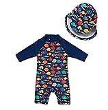BONVERANO Baby Junge EIN stück 3/4 der ärmellänge UV-Schutz 50+ Badeanzug MIT Einem Reißverschluss (Bunte-Fisch, 80-86)