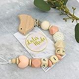 Schnullerkette mit Namen für Junge und Mädchen - personalisierte Baby Geschenke zur Geburt oder Taufe (F29822)