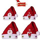 AISHN Weihnachtsmützen Santa Hüte, 4 Stück Weihnachtsmütze Kurze Plüsch Santa Claus Dekorationen Weihnachtsmützen für Kinder Erwachsene, Schneemann Plüsch Weihnachtsmütze für Weihnachtsfeier