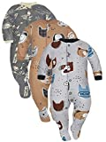 Sibinulo Jungen Mädchen Baby Schlafstrampler Kleinkind, 0-3 Monate Babykleidung Set 3er Pack Graue...