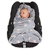 HOPPEDIZ Fleece-Decke für 3 & 5 Punkt-Gurtsysteme Einschlag-/Auto-/Krabbeldecke grau/creme mit...