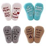 Richaa Baby Socken Geschenkset, 4 Paar Unisex Neugeborenen Socken, Lustige Zitate Socken Baby Shower...