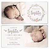 20 x Geburtskarten Babykarten individuell Fotos Text selbst gestalten Mädchen Junge Baby - Blumenkranz