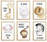 WIETRE® 6er Set Bilder Tiere Kinderzimmer Babyzimmer Deko   Bild Junge Mädchen Poster DIN A4   Waldtiere Safari Afrika Tiere Tierposter Dekoration (ohne Rahmen)