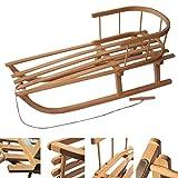 BAMBINIWELT Holzschlitten mit Rückenlehne + Zugleine + Kinderschlitten, Schlitten aus Buchenholz