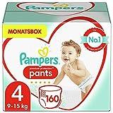 Pampers Größe 4 Premium Protection Baby Windeln Pants, 160 Stück, MONATSBOX, Weichster Komfort Und Schutz (9-15kg)