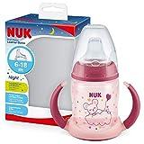NUK First Choice+ Trinklernflasche Learner Cup Night   6–18Monate   150 ml   Anti-Colic-Ventil   auslaufsichere Trinkschnabel   mit Leuchteffekt   Ergonomische Griffe   BPA-frei   Rosa
