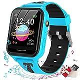 Smooce Kinder Smartwatch Telefon,Spiele Musik Smart Watch für Kinder[1 GB Micro SD Enthalten],Kids Smart Watch mit SOS Anruf Kamera Spiele Wecker Musik Player für Jungen Mädchen(Blue)