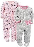 Simple Joys by Carter's Baby Mädchen 2er Pack Baumwolle Fuß Schlafen und Spielen ,Gray Butterfly/Pink Floral ,0-3 Months