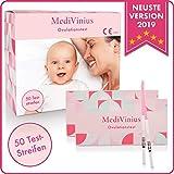 MediVinius Ovulationstest 50 Streifen mit 25 mIU/ml - Fruchtbarkeitstest für Frauen - Teststäbchen...