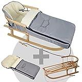 BambiniWelt24 BAMBINIWELT Kombi-Angebot Holz-Schlitten mit Rückenlehne & Zugseil + universaler Winterfußsack (90cm), geeignet für Babyschale, Kinderwagen, Buggy, Wolle Uni (Hellgrau)