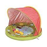 LUDI Anti-UV Schutzzelt Wind- und Sonnenschutz   Mit 6 Bällen   Schutz- und Planschbecken   UV Schutzhaube, Strandmuschel 50+   Ab Geburt