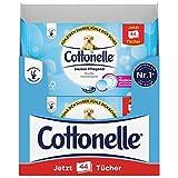 Cottonelle Feuchtes Toilettenpapier, Sauber Pflegend - Mizellenwasser & Baumwollduft, Biologisch Abbaubar, Wiederverschließbar, Vorteilspack, 12 x 44 Tücher