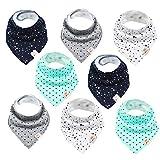Baby Dreieckstücher 8 Stück Halstuch süße unisex aus Baumwolle mit verstellbaren Druckknöpfen Spucktuch Lätzchen für Kleinkinder Jungen und Mädchen (Set Unisex)