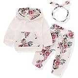 Wexuua Baby Mädchen Langarm Floral Hoodie Tops Sweatshirt mit Känguru Tasche Hosen Stirnband...