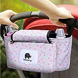 Kinderwagen Organizer, Universale Baby Kinderwagentasche mit Reißverschluss, Unverzichtbares Kinderwagen-Zubehör Aufbewahrungstasche. (Rosa Flecken)