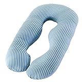 PREDUXYOW U Kissen Schwangerschaft, Schwangerschaftskissen U-förmiges Seitenschläferkissen weiches Lagerungskissen, Stillkissen mit Abnehmbarem und Waschbarem Bezug,Blue,Stripes