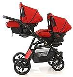 Zwillings- und Geschwisterkinderwagen, komplett 3-teilig Sportsitze für Buggy, Babywannen, Babyschalen (Kindersitz Gruppe 0) und Zubehör, Farbe: Rot, Onyx Tandem