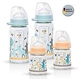 NIP Weithalsglasflasche Glas Flaschen Set Girl Mint/Creme Mix // 4er Set // Glas-Babyflasche // 120...