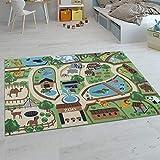 Paco Home Kinder-Teppiche, Kurzflor-Teppiche für Kinderzimmer mit vers. Designs Spielteppiche Bunt, Grösse:160x220 cm, Farbe:Beige