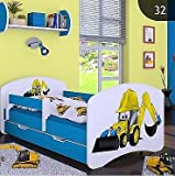 naka24 HB Kinderbett Bagger mit Matratze und Bettkasten/Verschiedene Variante (Blau, 80 x 160 cm)