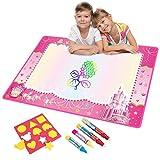 Vidillo Doodle Matte, Wasser Doodle Zeichnung Matte Kinder Spielzeug Große Magie Kleinkinder Malerei Board Schreibmatten Scribble Boards mit 4 Magic Pen und Zeichnen Vorlagen Größe 74x 49cm (Pink)