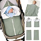 Baby Wrap Wickeldecke Strick Schlafsack Schlafsack Kinderwagen Wrap Weich Warm für 0-12 Monate...