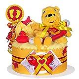 MomsStory - Windeltorte neutral | Winnie Pooh Disney | Baby-Geschenk zur Geburt Taufe Babyshower | 1 Stöckig (Orange) Baby-Boy & Baby-Girl (Unisex) mit Plüschtier Lätzchen Schnuller und mehr