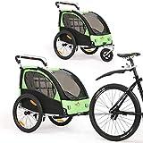 2 in 1 Fahrradanhänger 360 ° drehbarer Kinderwagen Zweisitzer mit Griffbremse und Radschutz...