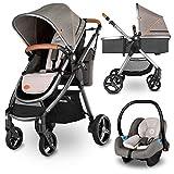 Lionelo Greet Kombikinderwagen 3 in 1 Baby Kinderwagen Buggy Komplettset mit soft Babywanne und Babyschale Kindersitz 0-13 kg zusammenklappbar mit Zubehör