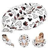 Stillkissen Schwangerschaftskissen zum Schlafen Seitenschläferkissen - Lagerungskissen für Baby XXL Pregnancy Pillow Oeko-Tex Weiß mit Maus