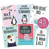 45 Baby Meilenstein-Karten für Jungen und Mädchen mit hochwertiger Verpackung von Cozy Racoon -...