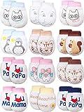Geyoga 12 Paare Baby Fäustlinge Ohne Kratzer Neugeborene Baby Handschuhe Verstellbare Baby Fäustlinge für 0-6 Monate Baby Junge Mädchen (Lebendiger Stil)