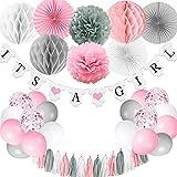 Babyparty-Dekorationen für Mädchen, es ist ein Mädchen-Banner mit Papierfächer-Gewebe-Pompons...