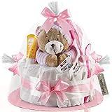 Timfanie Windeltorte | Spieluhr Bär | 1-stöckig | zart-rosa | Windeln Gr. 2 (Baby 4-8 Kg)