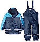 Playshoes Regenanzug-Set mit Fleece gefüttert, Jungen Matsch-Anzug 2-teilig, wind- und wasserdicht, Blau (Marine 11), 116