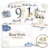 45 Baby Meilensteinkarten Golden Glamour Splash Milestone Cards Meilenstein Karten Geschenkset + Geschenkbox schöne Geschenkidee zur Geburt (Baby)