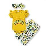ZOEREA Kleidung Set Baby Mädchen 0-18 Monate Neugeborene Rüsche Kurzarm Stickmuster Body Strampler + Blumen Hose Sommer Babykleidung Sets 2 Stück