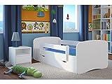 Kocot Kids Kinderbett Jugendbett 70x140 80x160 80x180 Weiß mit Rausfallschutz Matratze Schublade und Lattenrost Kinderbetten für Mädchen und Junge - ohne Motiv 160 cm