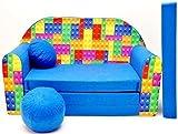 Pro Cosmo C32 Kinder-Schlafsofa mit Sitzkissen, Stoff, Mehrfarbig, 168 x 98 x 60 cm, Baumwolle