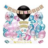Dsaren 103 Stück Gender Reveal Party Supplies Junge oder Mädchen Baby Deko Banner Ballon Rosa und...