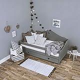 KAGU Kinderbett CANDY Liegefläche 160 x 80 cm, Gewicht ca. 47 kg, Holzbett für Kinder, Bett aus Holz, Kinderbett mit Matratze, aus Kiefernholz, Bettkasten zum Verstauen von Bettwäsche, (Grey)